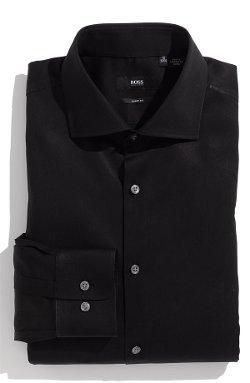 Slim Fit Cotton Stretch Dress Shirt by Hugo in Blackhat