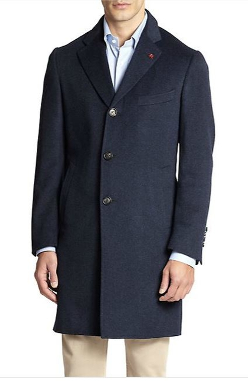 Aqua Cashmere Overcoat by Isaia in Self/Less