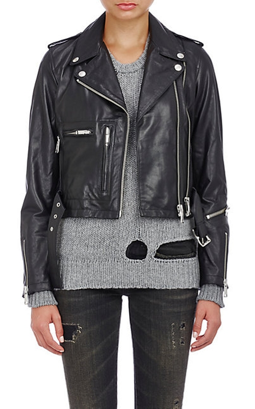 Leather Crop Moto Jacket by R13 in The Blacklist - Season 3 Episode 8