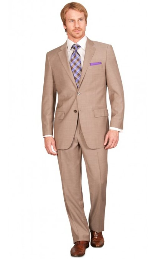 Solid Lido Classic Fit Suit by Bachrach in Drive