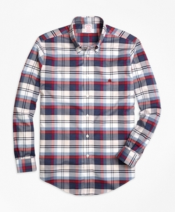 Madison Fit Plaid Sport Shirt by Brooks Brothers in New Girl