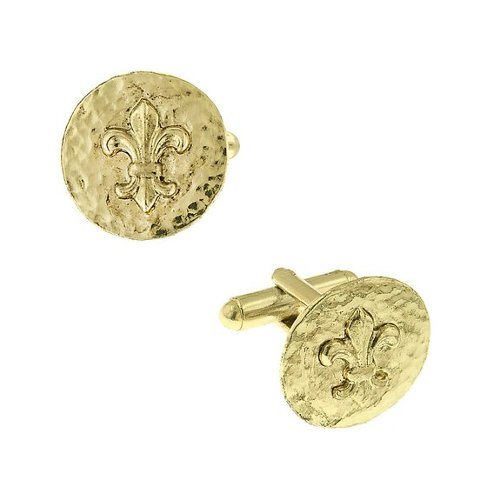 Unisex Gold Tone Round Hammered Fleur De Lis Cuff Links by 1928 Jewelry in The Great Gatsby