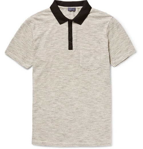 Striped Cotton Jersey Polo Shirt by Club Monaco in Back To The Future
