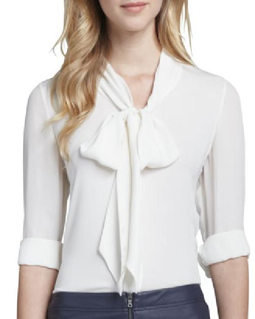 Arie Tie-Neck Blouse by Alice + Olivia in Neighbors