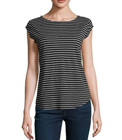 Adelise Striped Cap-Sleeve Linen T-Shirt by Joie in The House