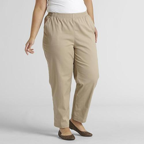 Women's Plus Elastic Waist Pull On Pant Twill Average Length by Laura Scott in Tammy