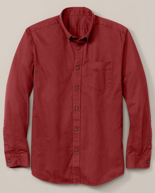 Men's Relaxed Fit Long-Sleeve Signature Twill Shirt by Eddie Bauer in The Revenant