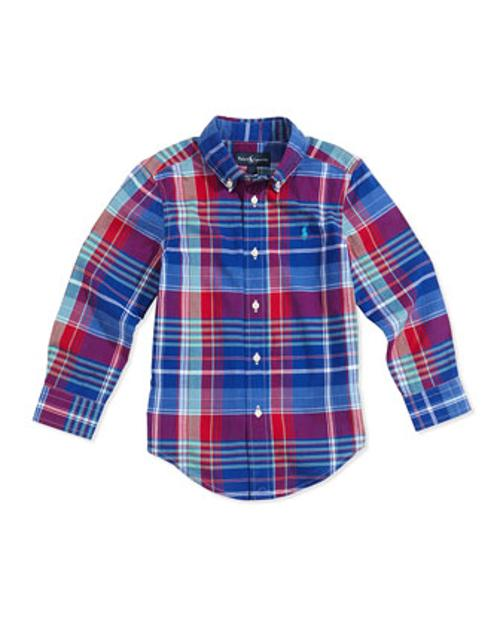 Boys' Madras Plaid Button-Down Shirt by Ralph Lauren Childrenswear in Addicted