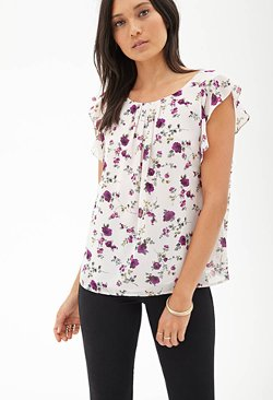 Ruffled Floral Chiffon Blouse by Forever 21 in While We're Young