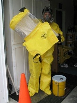 Hazmat Suit Chemical Protective Clothing by Tychem BR in Blackhat