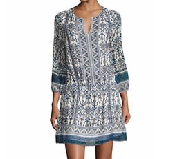 Geometric Border Print Silk Dress by Joie Galene in New Girl