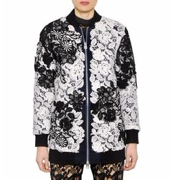 Two Tone Lace Bomber Jacket by Self-Portrait in Power
