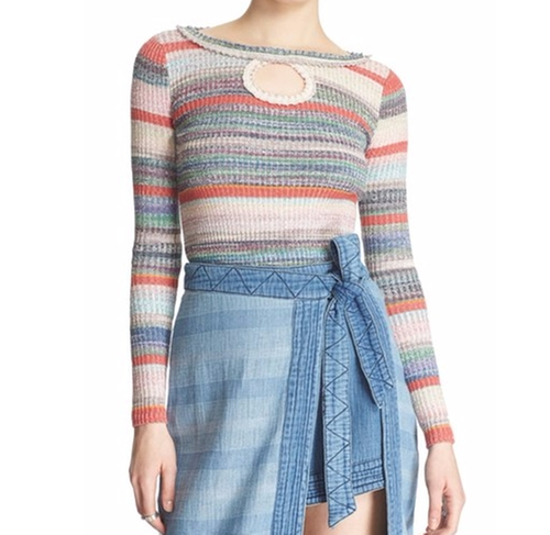 Sunshine Dreamer Stripe Keyhole Sweater by Free People in The Good Place - Season 1 Episode 3