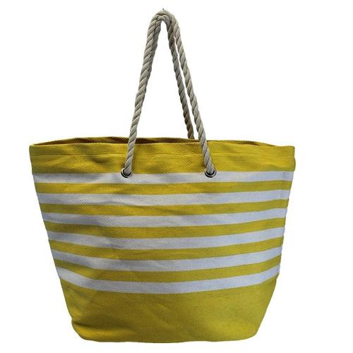 Yellow White Striped Deluxe Cotton Lined Over Sized Beach Tote Bag by Luxury Divas in The Other Woman