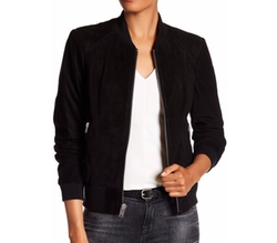 Leigh Suede Bomber Jacket by Andrew Marc in The Catch