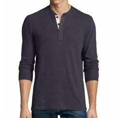 Basic Long-Sleeve Henley Shirt by Rag & Bone Standard Issue in New Girl