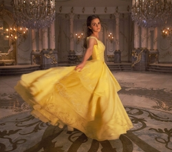 Custom Made Yellow Silk Dress by Jacqueline Durran (Costume Designer) in Beauty and the Beast