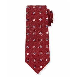 Textured Neat-Print Silk Tie by Isaia in Empire