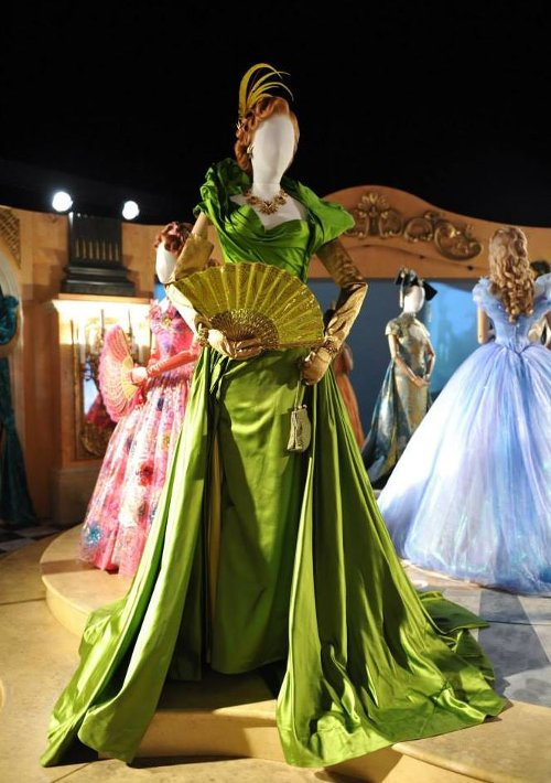 Custom Made Emerald Green Structured Ball Gown (Lady Tremaine) by Sandy Powell (Costume Designer) in Cinderella