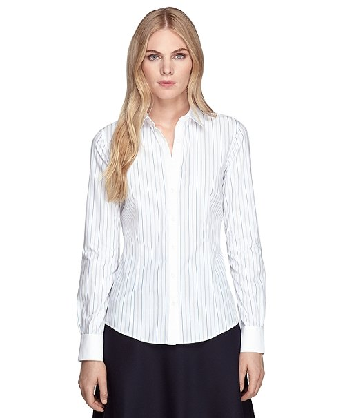 Non-Iron Tailored Fit Stripe Dress Shirt by Brooks Brothers in Her