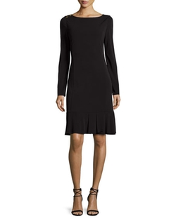 Long-Sleeve Ruffle-Hem Jersey Dress by Tory Burch in The Intern