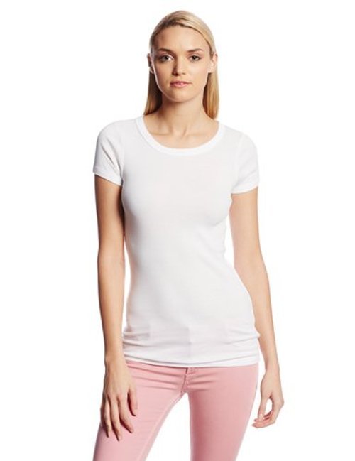 Supima Short Sleeve Raw Edge Crew Neck Tee by Michael Stars in Pitch Perfect 2