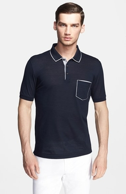 Contrast Trim Piqué Polo Shirt by Salvatore Ferragamo in Ballers