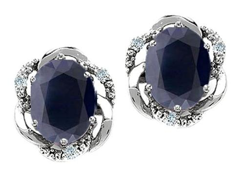 Oval Genuine Black Sapphire and Diamond Earrings by Tommaso Design in The Hundred-Foot Journey