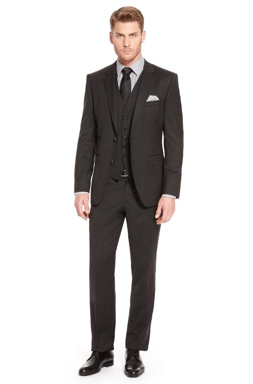 'The James/Sharp WE' | Regular Fit, Stretch Virgin Wool 3-Piece Suit by Hugo Boss in Yves Saint Laurent