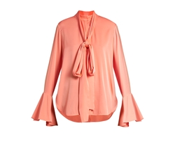 Neck-Tie Stretch Silk-Satin Blouse by Ellery in Power