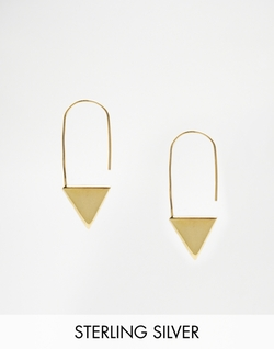 Plated Sterling Silver Triangle Through Earrings by Asos in Pretty Little Liars