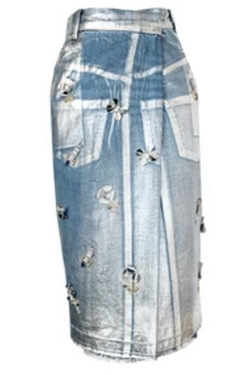 Embellished Midi Denim Skirt by Muveil in Empire