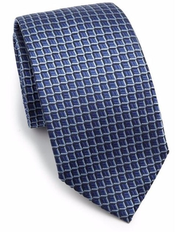 Square Print Silk Tie by Armani Collezioni in Suits