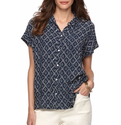 Printed Crinkle Blouse by Chaps in Sisters