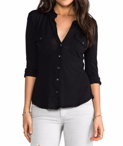 Slub Button Front Shirt by James Perse in New Girl