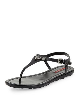 Vernice Logo Thong Sandals by Prada Linea Rossa	 in Begin Again