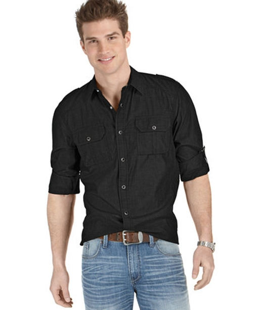 Long Sleeve Chambray Button Down Shirt by American Rag in Hell or High Water