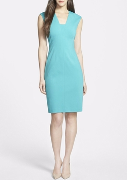 V-Neck Seamed Ponte Sheath Dress by Classiques Entier in Notorious