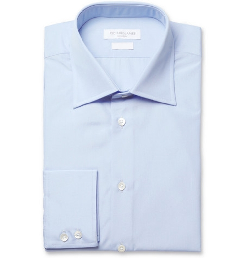 Blue Cotton-Poplin Shirt by Richard James in Unfinished Business