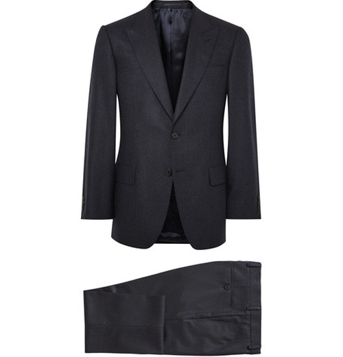 Midnight Blue Slim Fit Wool Hopsack Suit by Gieves & Hawkes in Spy