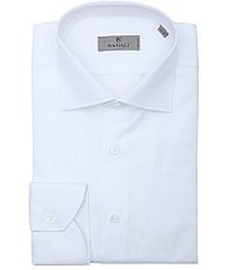 White Slub Cotton Spread Collar Dress Shirt by Canali in Suits