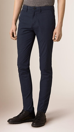 Slim Fit Cotton Poplin Chino Pants by Burberry in We Are Your Friends