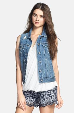 Destroyed Denim Vest by Vince Camuto in Tammy
