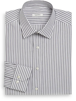 Classic-Fit Striped Cotton Dress Shirt by Valentino in Savages