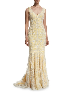 V-Neckline Ribbon Soutache Gown by Badgley Mischka in Empire