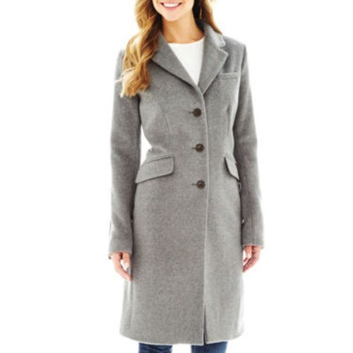 Wool-Blend Chesterfield Coat by Liz Claiborne in That Awkward Moment