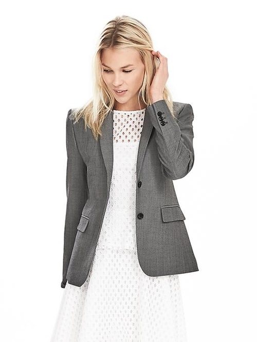 Gray Lightweight Wool Blazer by Banana Republic in Special Correspondents