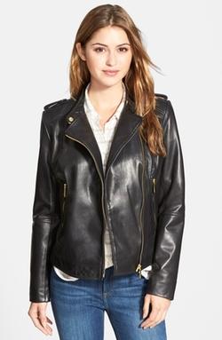 Asymmetrical Zip Leather Moto Jacket by Bernardo in The Flash