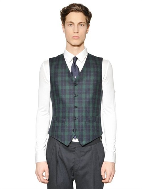 Plaid Wool Blend Vest by Tombolini in Shutter Island