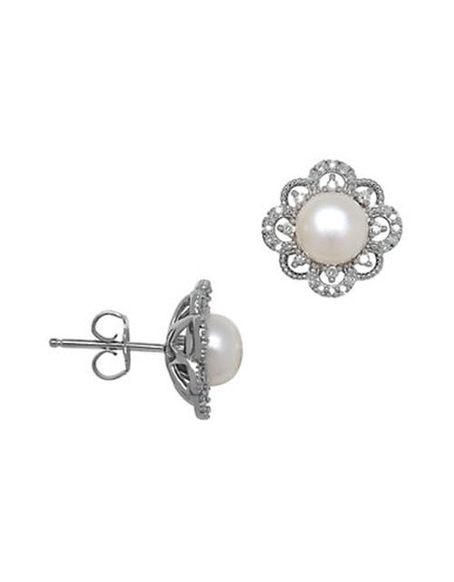 White Pearl and Diamond Stud Earrings by Lord & Taylor in Suits